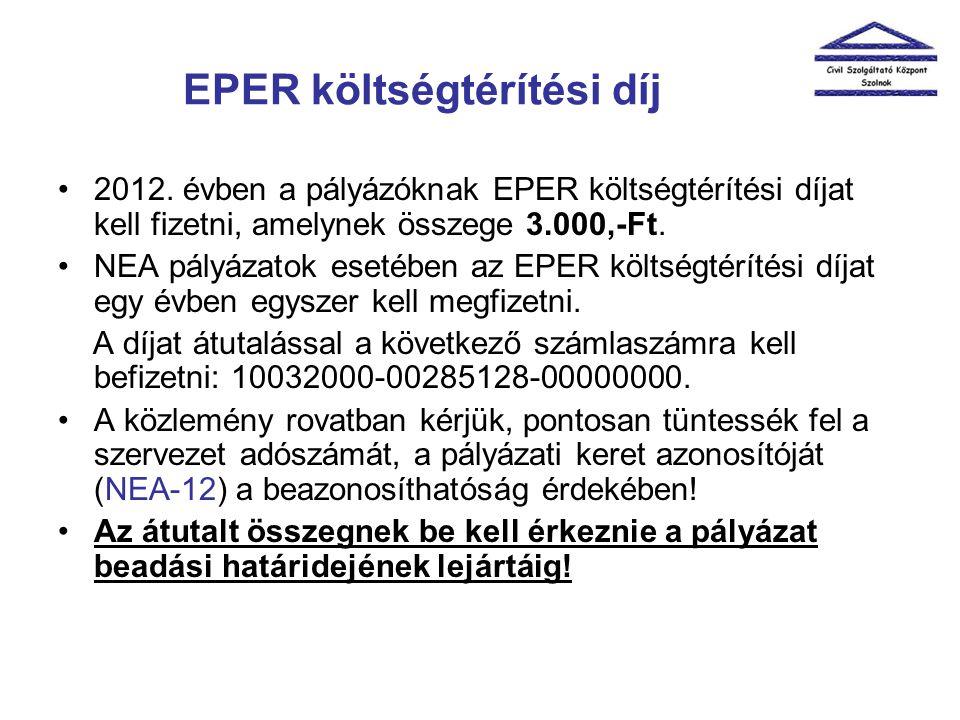 EPER költségtérítési díj •2012. évben a pályázóknak EPER költségtérítési díjat kell fizetni, amelynek összege 3.000,-Ft. •NEA pályázatok esetében az E