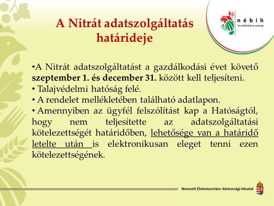A Nitrát adatszolgáltatás határideje • A Nitrát adatszolgáltatást a gazdálkodási évet követő szeptember 1. és december 31. között kell teljesíteni. •