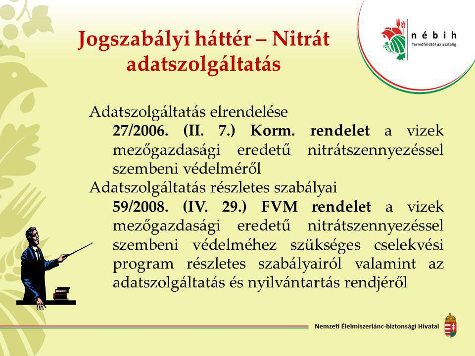 Adatszolgáltatás elrendelése 27/2006. (II. 7.) Korm. rendelet a vizek mezőgazdasági eredetű nitrátszennyezéssel szembeni védelméről Adatszolgáltatás r