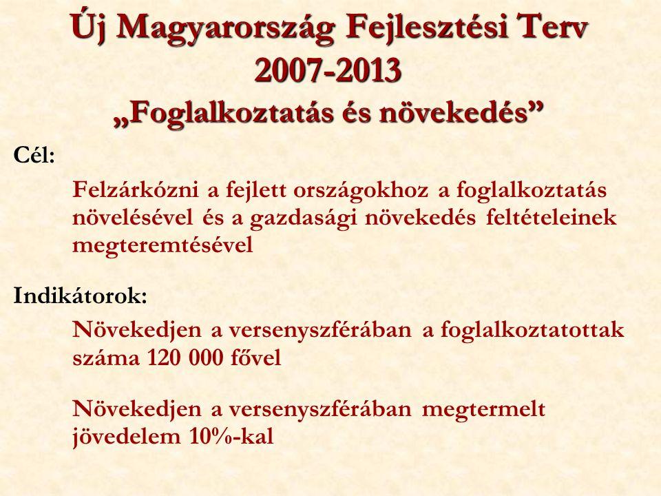 """Új Magyarország Fejlesztési Terv 2007-2013 """"Foglalkoztatás és növekedés"""" Cél: Felzárkózni a fejlett országokhoz a foglalkoztatás növelésével és a gazd"""