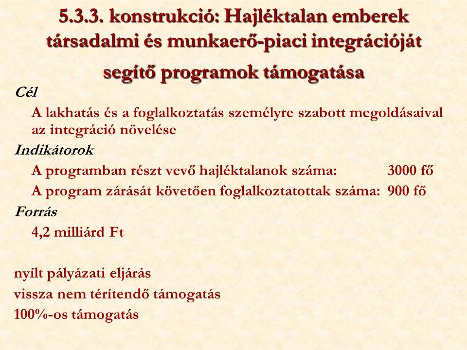 5.3.3. konstrukció: Hajléktalan emberek társadalmi és munkaerő-piaci integrációját segítő programok támogatása Cél A lakhatás és a foglalkoztatás szem