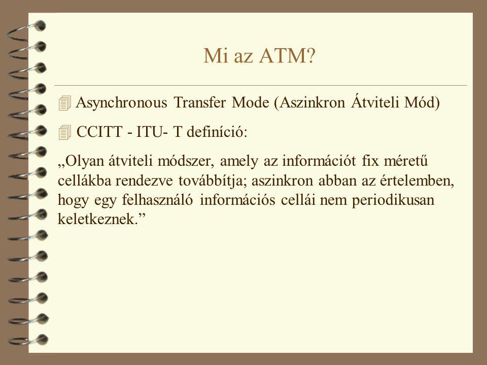 """Mi az ATM? 4 Asynchronous Transfer Mode (Aszinkron Átviteli Mód) 4 CCITT - ITU- T definíció: """"Olyan átviteli módszer, amely az információt fix méretű"""