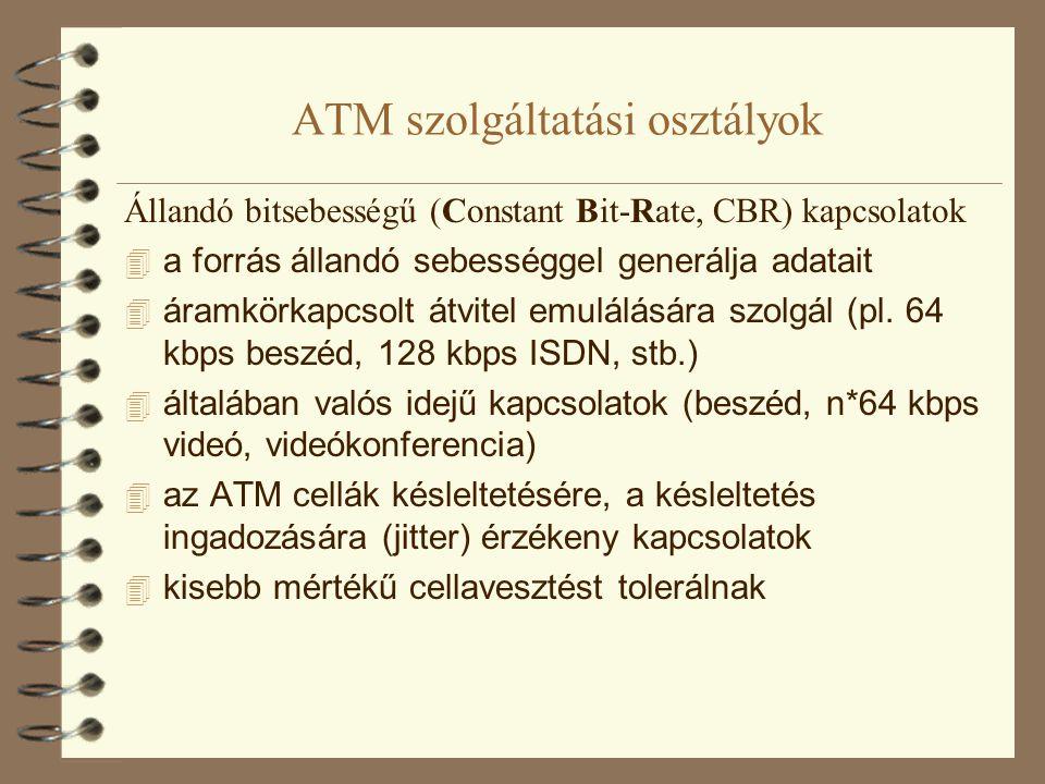 """ATM szolgáltatási osztályok Valós idejű, változó bitsebességű (real time Variable Bit- Rate, rt VBR)  a bitsebesség nem állandó  a forrás az adatokat """"csomókban (börszt) generálja  változó bitsebességgel kódolt videó-, vagy beszéd átvitele  valós idejű: késleltetésre, késleltetés ingadozásra érzékeny  kisebb mértékű cellavesztést tolerál  mivel várhatóan egyszerre nem az összes forrás ad maximális bitsebességgel: statisztikus multiplexelés  statisztikus multiplexelés: a csúcs átviteli sebességek összegénél kisebb kapacitású összeköttetésen is át lehet vinni több forrás forgalmát"""