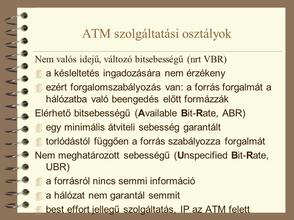 ATM szolgáltatási osztályok Nem valós idejű, változó bitsebességű (nrt VBR)  a késleltetés ingadozására nem érzékeny  ezért forgalomszabályozás van: