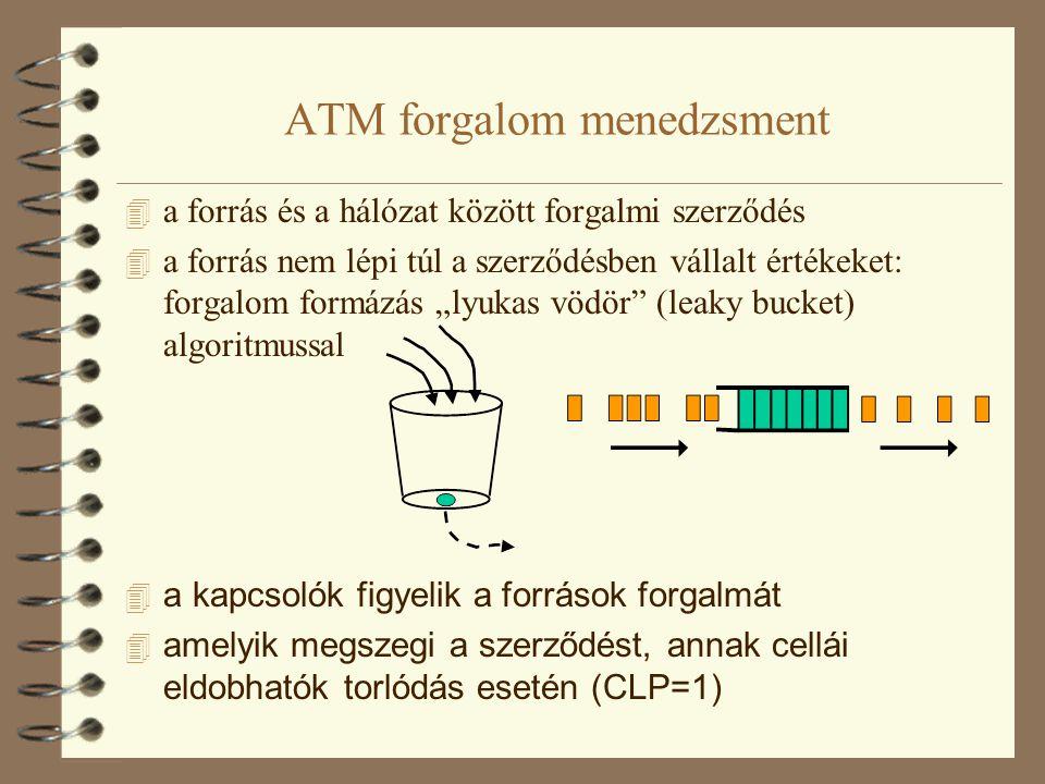 Az ATM adaptációs réteg 4 ATM adaptációs réteg (ATM Adaptetion Layer, AAL) 4 több féle szabványos AAL, a különböző adattípusoknak megfelelően 4 AAL 1 típus: állandó bitsebességű (Constant Bit Rate, CBR) forrásokhoz, pl.