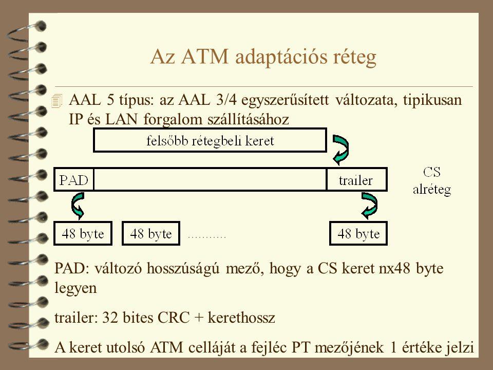 Szolgáltatási osztályok és az AAL  AAL 1: CBR forgalomhoz, kapcsolat-orientált, állandó bitsebességű, késleltetés-érzékenyt összeköttetések adott időzítési és késleltetési követelményekkel  AAL 2: kapcsolat orientált VBR forgalomhoz  AAL 3/4: kapcsolat orientált és kapcsolatmentes adatforgalomhoz  AAL 5: kapcsolat-orientált és csomagkapcsolás jellegű forgalmakhoz egyaránt, ABR, UBR, VBR forgalmat szállíthat, kis fejléc, egyszerű adatfeldolgozás, kevesebb pazarolt sávszélesség