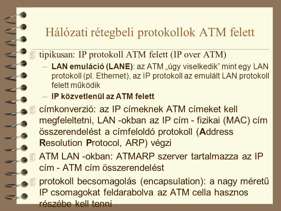 Hálózati rétegbeli protokollok ATM felett 4 azonos IP alhálózatban található végkészülékek között 4 valamelyik forrás IP csomagokat akar küldeni az alhálózatban található másik host -nak 4 az első IP csomag az ARP szerverhez érkezik, ami válaszul elküldi a célállomás ATM címét 4 a forrás direkt ATM kapcsolatot épít fel a célig 4 a célállomás, ha válaszol, szintén az ARP szerverhez érkezik az első csomag, az elküldi a célállomásnak a forrás ATM címét 4 a célállomás is direkt ATM kapcsolatot épít ki a forrás felé