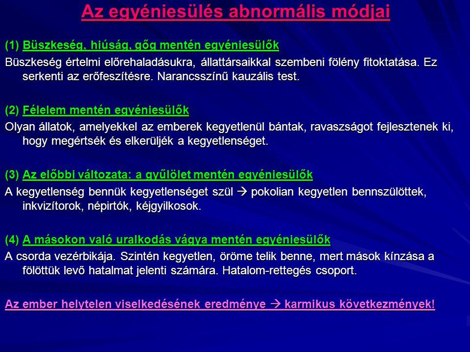 Az egyéniesülés abnormális módjai (1) Büszkeség, hiúság, gőg mentén egyéniesülők Büszkeség értelmi előrehaladásukra, állattársaikkal szembeni fölény f