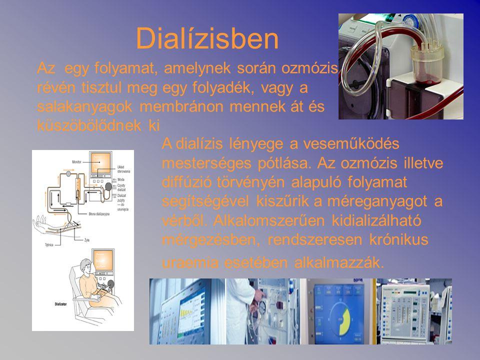 Dialízisben Az egy folyamat, amelynek során ozmózis révén tisztul meg egy folyadék, vagy a salakanyagok membránon mennek át és küszöbölődnek ki A dial