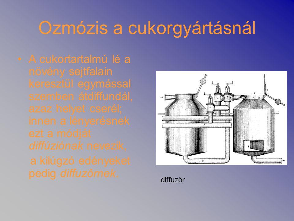 Ozmózis a cukorgyártásnál •A cukortartalmú lé a növény sejtfalain keresztül egymással szemben átdiffundál, azaz helyet cserél; innen a lényerésnek ezt