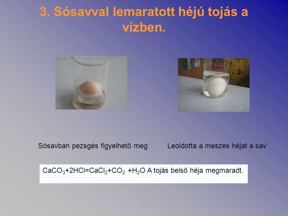 3. Sósavval lemaratott héjú tojás a vízben. Sósavban pezsgés figyelhető megLeoldotta a meszes héjat a sav CaCO 3 +2HCl=CaCl 2 +CO 2 +H 2 O A tojás bel
