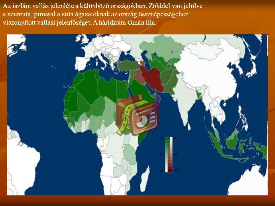 Az iszlám vallás jelenléte a különböző országokban. Zölddel van jelölve a szunnita, pirossal a síita ágazatoknak az ország össznépességéhez viszonyíto