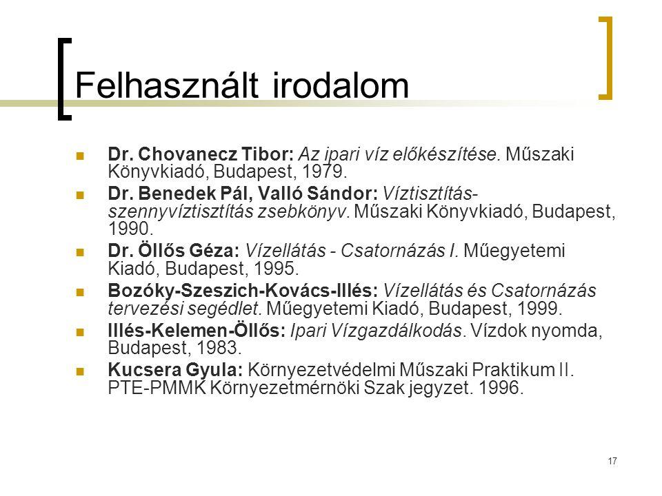 17 Felhasznált irodalom  Dr. Chovanecz Tibor: Az ipari víz előkészítése. Műszaki Könyvkiadó, Budapest, 1979.  Dr. Benedek Pál, Valló Sándor: Víztisz