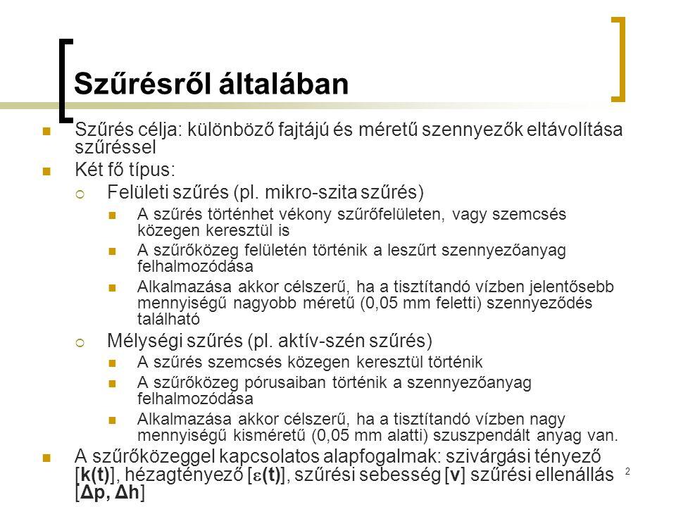 2 Szűrésről általában  Szűrés célja: különböző fajtájú és méretű szennyezők eltávolítása szűréssel  Két fő típus:  Felületi szűrés (pl. mikro-szita