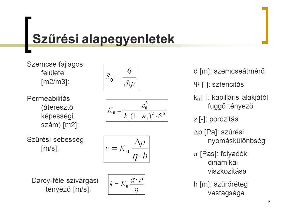 6 Szűrési alapegyenletek Szemcse fajlagos felülete [m2/m3]: Szűrési sebesség [m/s]: Permeabilitás (áteresztő képességi szám) [m2]: d [m]: szemcseátmér
