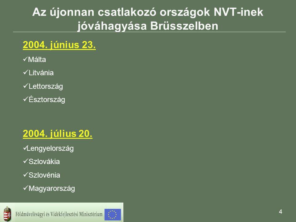 4 Az újonnan csatlakozó országok NVT-inek jóváhagyása Brüsszelben 2004.