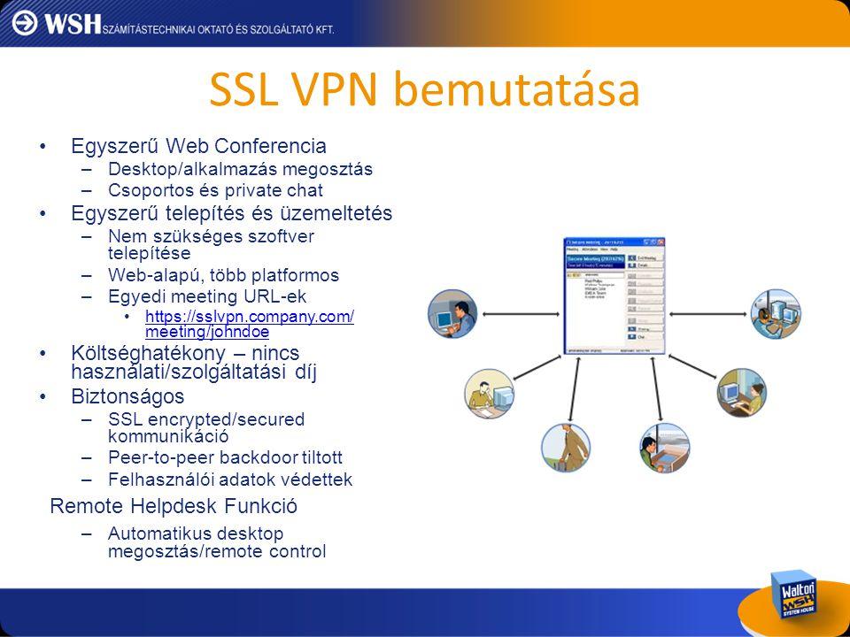 SSL VPN bemutatása •Egyszerű Web Conferencia –Desktop/alkalmazás megosztás –Csoportos és private chat •Egyszerű telepítés és üzemeltetés –Nem szüksége