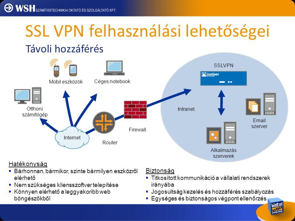 SSL VPN felhasználási lehetőségei Intranet Partnerek Kliens/Szerver alkalmazások Támogatók Firewall Ügyfelek Router Alkalmazás szerverek SSLVPN Internet Adminisztráció  Egyszerű felhasználókezelés  Nem kell klienst telepíteni a külső felhasználók számára  Web-enabled eszközökről elérhető Vállalati biztonsági előírások betartatása  Szabályozott hozzáférés az erőforrásokhoz és alkalmazásokhoz  Végpontvédelem ellenőrzése a hozzáférés megadása előtt megtörténik