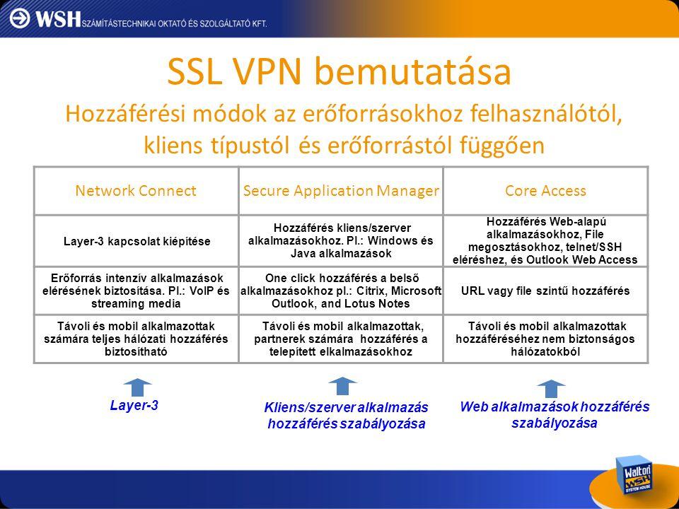 SSLVPN elvárások • Menedzselhetőség: üzemeltetés, állapot jelentés, loggolás és auditálás.