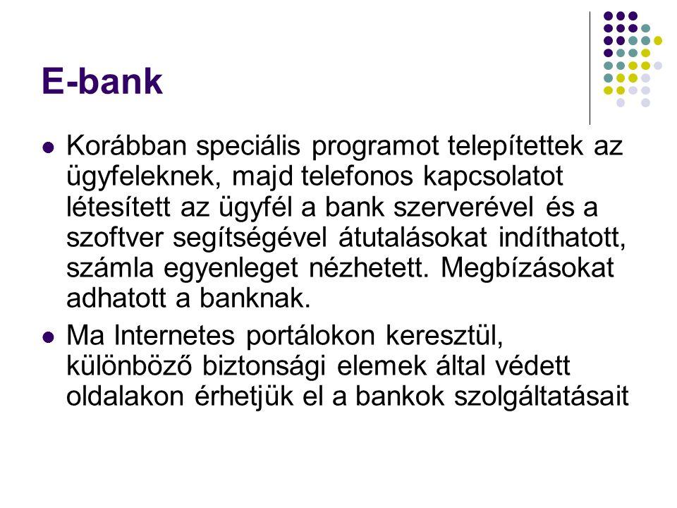 E-bank  Korábban speciális programot telepítettek az ügyfeleknek, majd telefonos kapcsolatot létesített az ügyfél a bank szerverével és a szoftver se