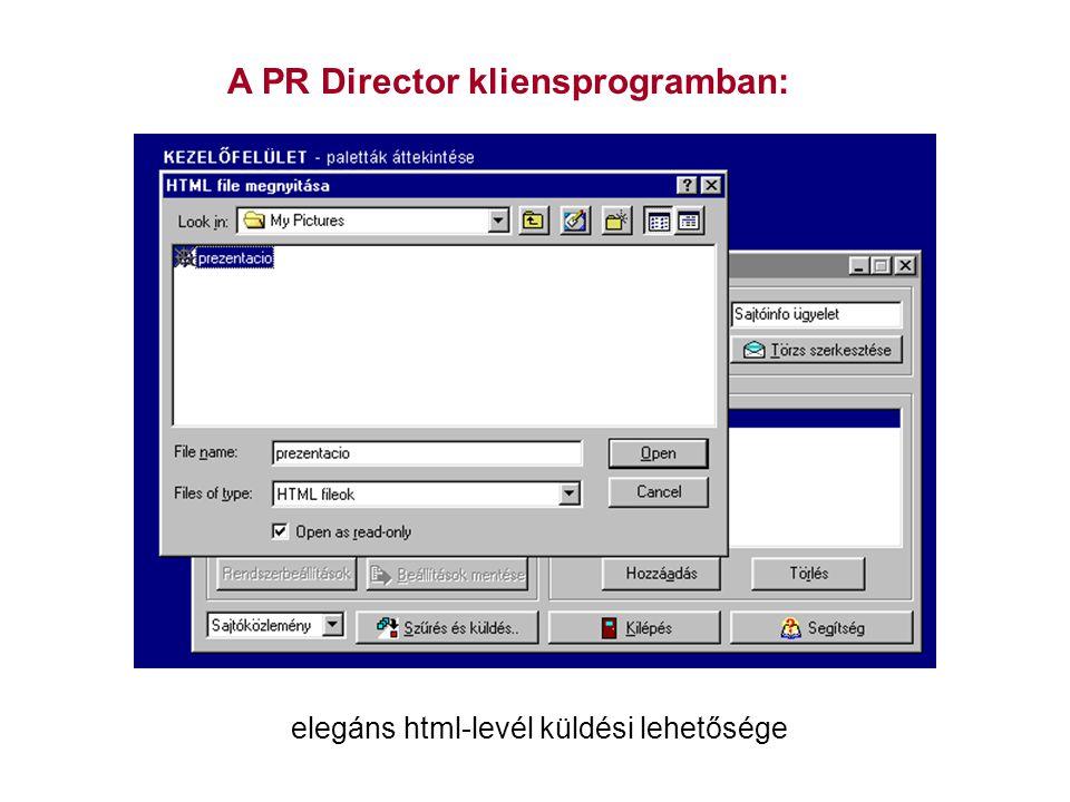 A PR Director kliensprogramban: elegáns html-levél küldési lehetősége