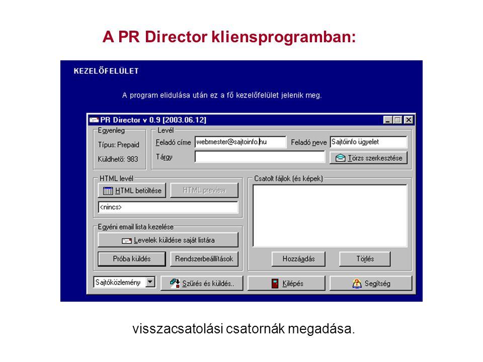 A PR Director kliensprogramban: visszacsatolási csatornák megadása.