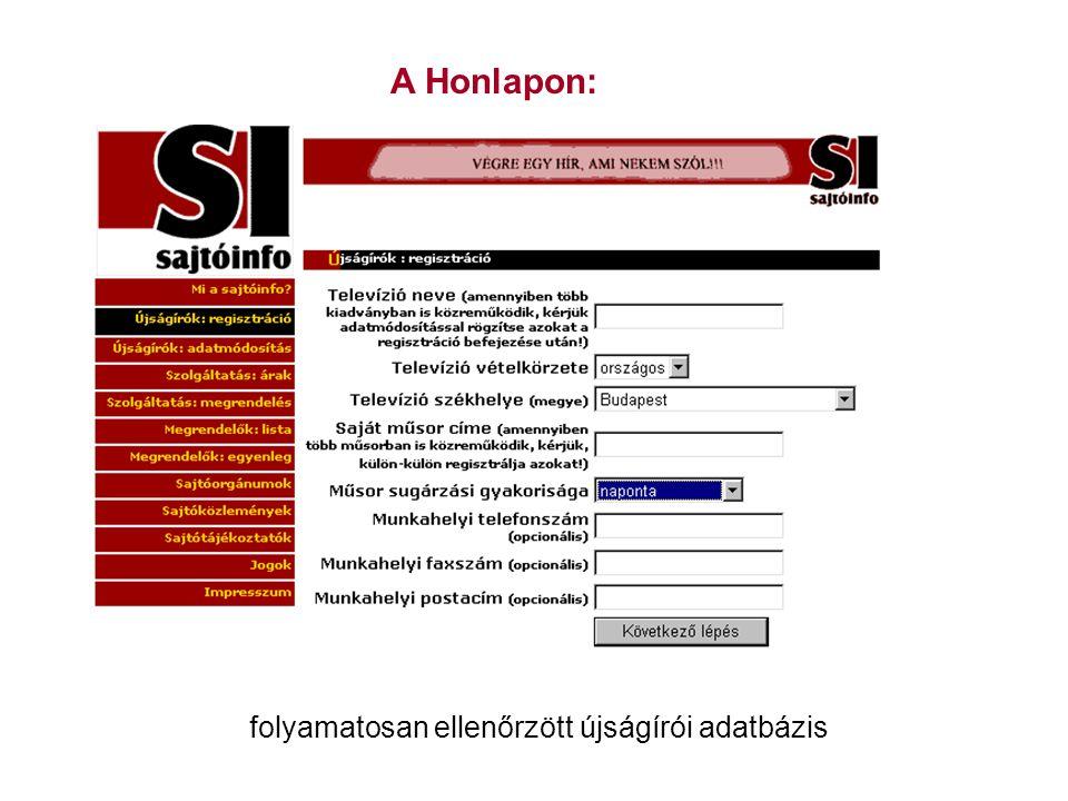 A Honlapon: folyamatosan ellenőrzött újságírói adatbázis