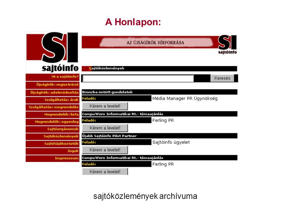 A Honlapon: sajtóközlemények archívuma