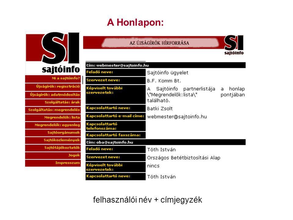 A Honlapon: felhasználói név + címjegyzék