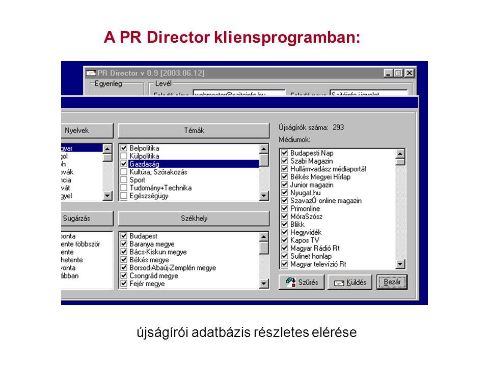 A PR Director kliensprogramban: újságírói adatbázis részletes elérése
