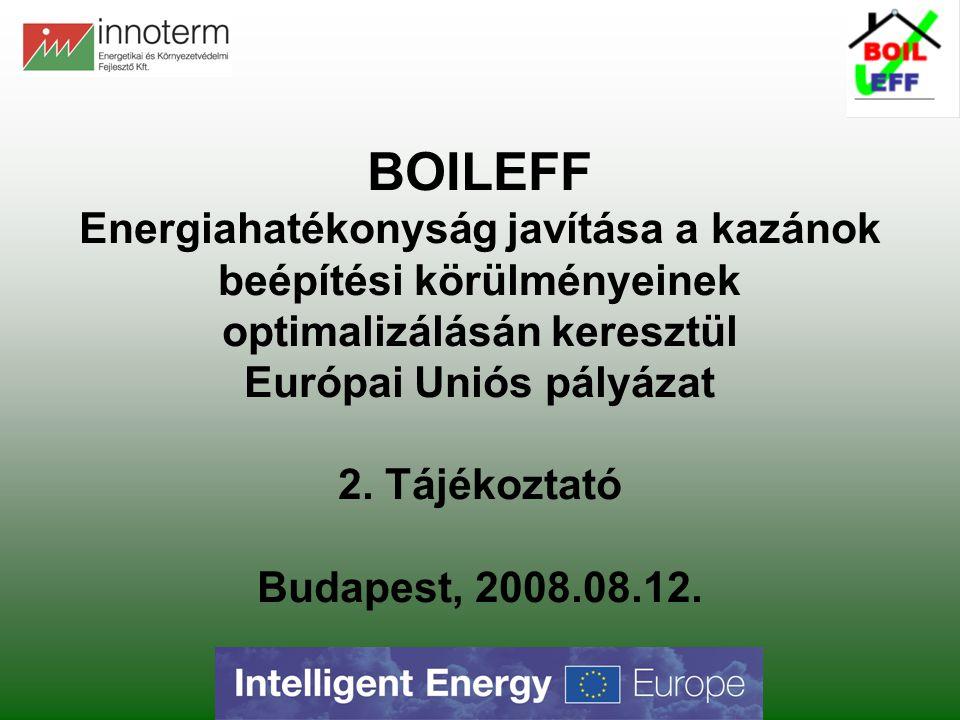 BOILEFF Energiahatékonyság javítása a kazánok beépítési körülményeinek optimalizálásán keresztül Európai Uniós pályázat 2. Tájékoztató Budapest, 2008.