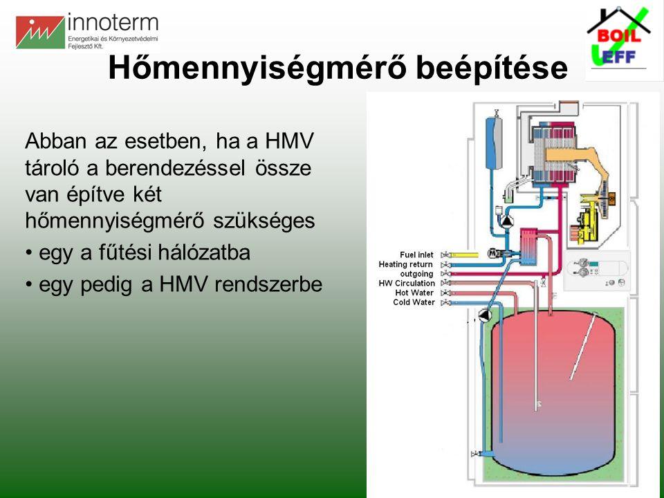 Abban az esetben, ha a HMV tároló a berendezéssel össze van építve két hőmennyiségmérő szükséges • egy a fűtési hálózatba • egy pedig a HMV rendszerbe