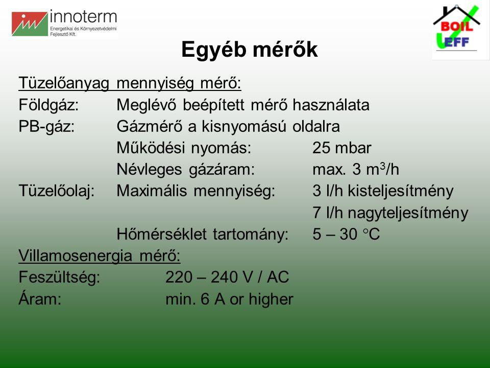 Egyéb mérők Tüzelőanyag mennyiség mérő: Földgáz:Meglévő beépített mérő használata PB-gáz:Gázmérő a kisnyomású oldalra Működési nyomás:25 mbar Névleges