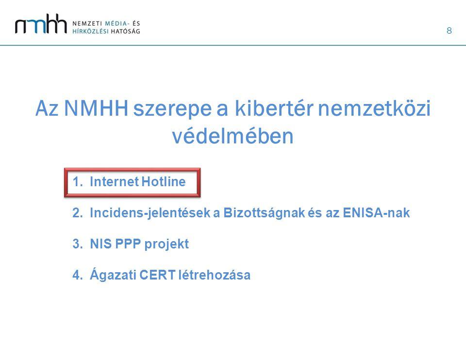 8 Az NMHH szerepe a kibertér nemzetközi védelmében 1.Internet Hotline 2.Incidens-jelentések a Bizottságnak és az ENISA-nak 3.NIS PPP projekt 4.Ágazati CERT létrehozása