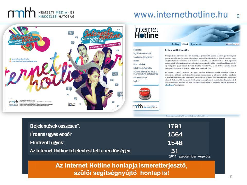 9 www.internethotline.hu Az Internet Hotline honlapja ismeretterjesztő, szülői segítségnyújtó honlap is.