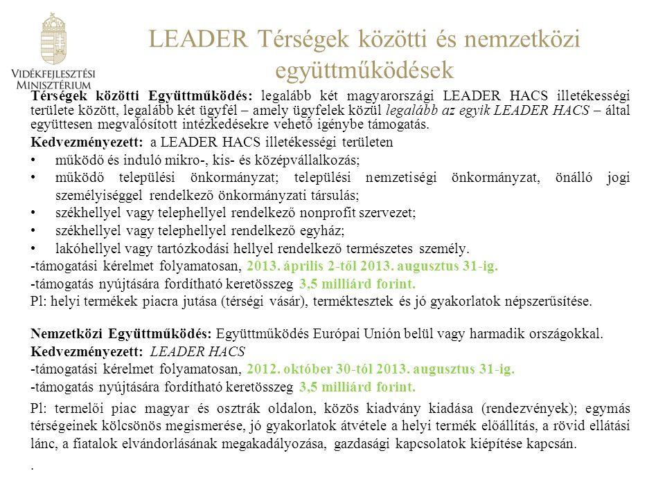 LEADER Térségek közötti és nemzetközi együttműködések Térségek közötti Együttműködés: legalább két magyarországi LEADER HACS illetékességi területe között, legalább két ügyfél – amely ügyfelek közül legalább az egyik LEADER HACS – által együttesen megvalósított intézkedésekre vehető igénybe támogatás.