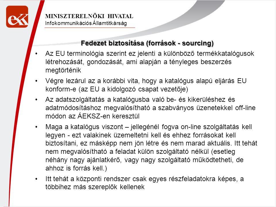 Infokommunikációs Államtitkárság MINISZTERELNÖKI HIVATAL Fedezet biztosítása (források - sourcing) •Az EU terminológia szerint ez jelenti a különböző