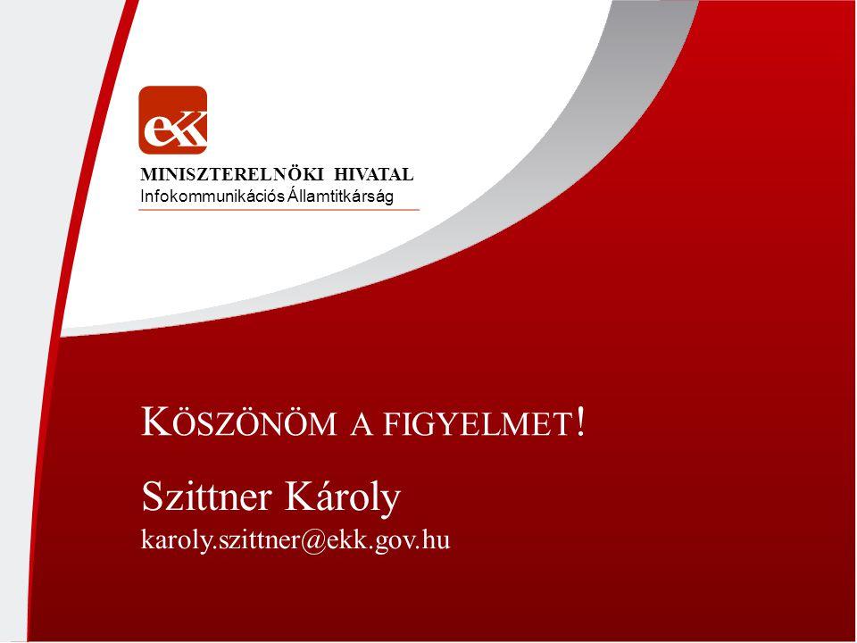 K ÖSZÖNÖM A FIGYELMET ! Infokommunikációs Államtitkárság MINISZTERELNÖKI HIVATAL Szittner Károly karoly.szittner@ekk.gov.hu