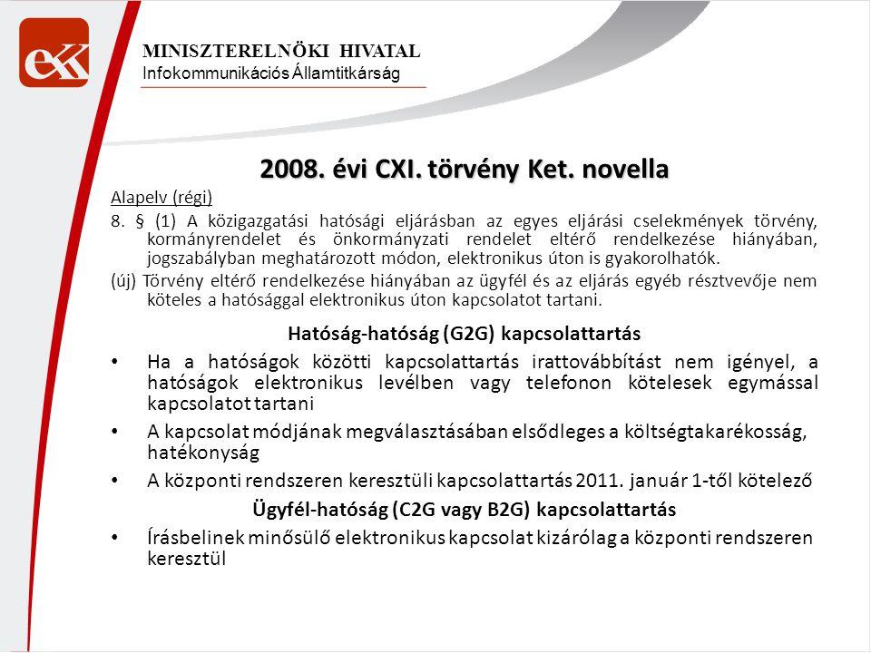 Infokommunikációs Államtitkárság MINISZTERELNÖKI HIVATAL 2008. évi CXI. törvény Ket. novella Alapelv (régi) 8. § (1) A közigazgatási hatósági eljárásb