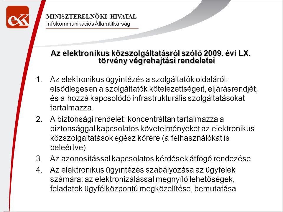 Infokommunikációs Államtitkárság MINISZTERELNÖKI HIVATAL Az elektronikus közszolgáltatásról szóló 2009. évi LX. törvény végrehajtási rendeletei 1.Az e