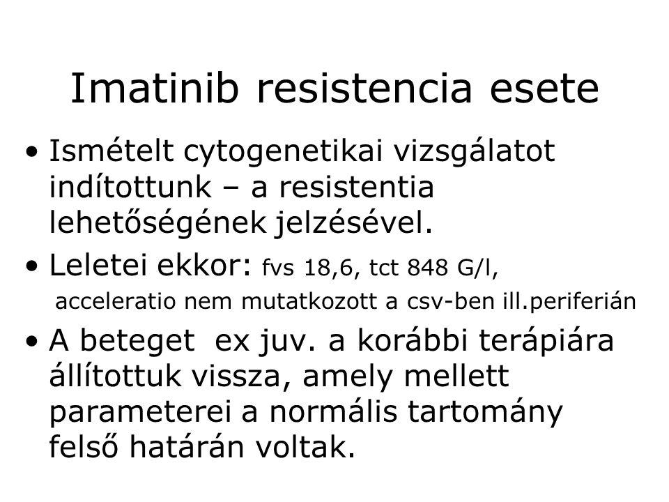 Imatinib resistencia esete •Ismételt cytogenetikai vizsgálatot indítottunk – a resistentia lehetőségének jelzésével. •Leletei ekkor: fvs 18,6, tct 848