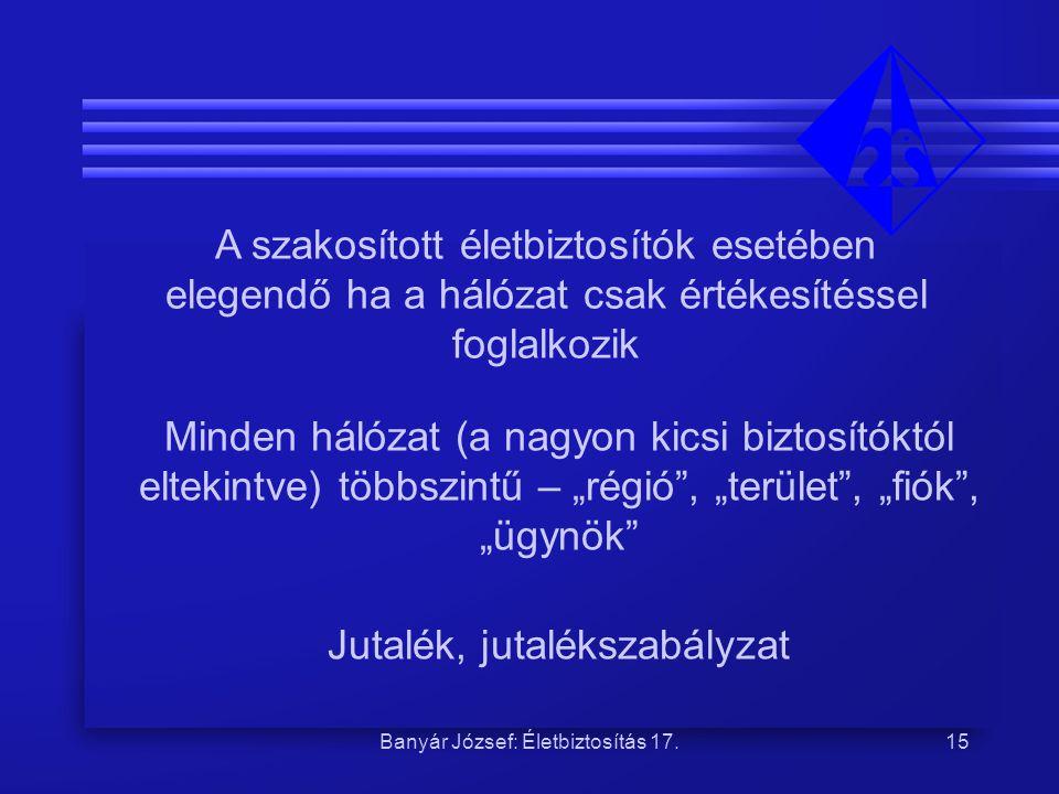 Banyár József: Életbiztosítás 17.15 A szakosított életbiztosítók esetében elegendő ha a hálózat csak értékesítéssel foglalkozik Minden hálózat (a nagy