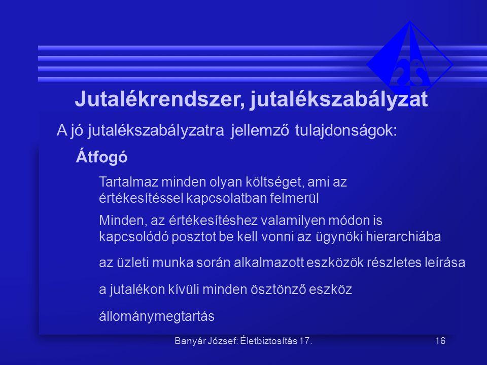 Banyár József: Életbiztosítás 17.16 Jutalékrendszer, jutalékszabályzat A jó jutalékszabályzatra jellemző tulajdonságok: Átfogó Tartalmaz minden olyan