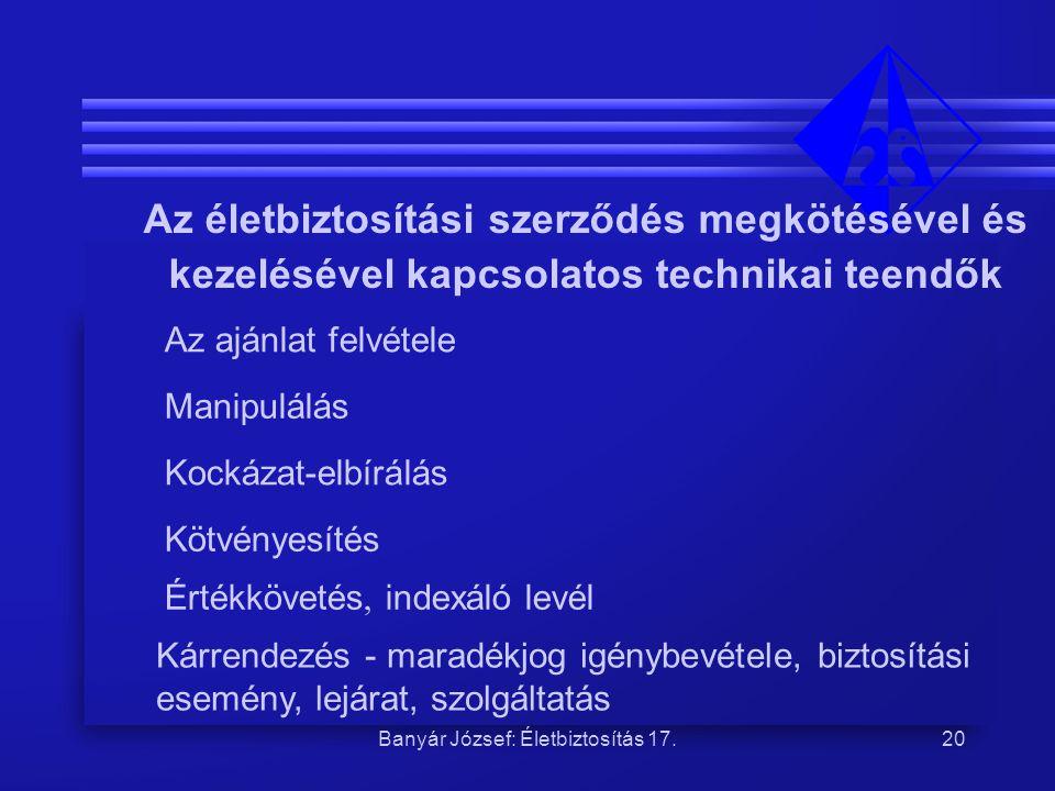 Banyár József: Életbiztosítás 17.20 Az életbiztosítási szerződés megkötésével és kezelésével kapcsolatos technikai teendők Az ajánlat felvétele Manipu