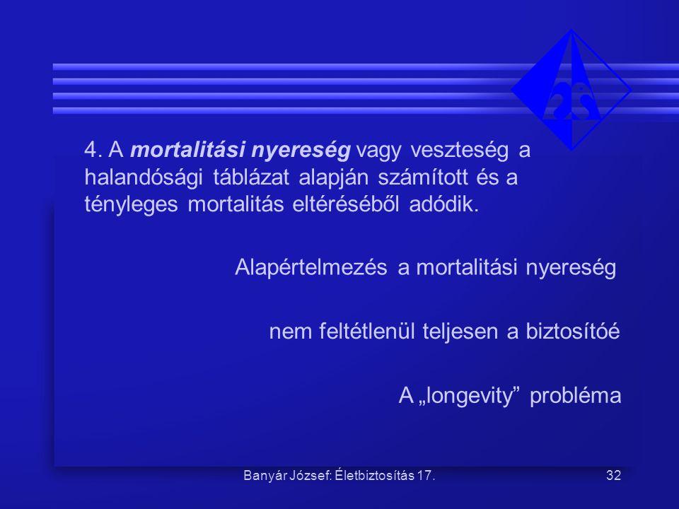 Banyár József: Életbiztosítás 17.32 4. A mortalitási nyereség vagy veszteség a halandósági táblázat alapján számított és a tényleges mortalitás eltéré
