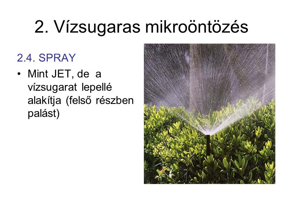 2. Vízsugaras mikroöntözés 2.4. SPRAY •Mint JET, de a vízsugarat lepellé alakítja (felső részben palást)