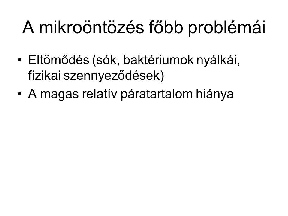 A mikroöntözés főbb problémái •Eltömődés (sók, baktériumok nyálkái, fizikai szennyeződések) •A magas relatív páratartalom hiánya