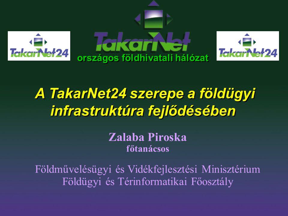 országos földhivatali hálózat A TakarNet24 szerepe a földügyi infrastruktúra fejlődésében Zalaba Piroska főtanácsos Földművelésügyi és Vidékfejlesztés