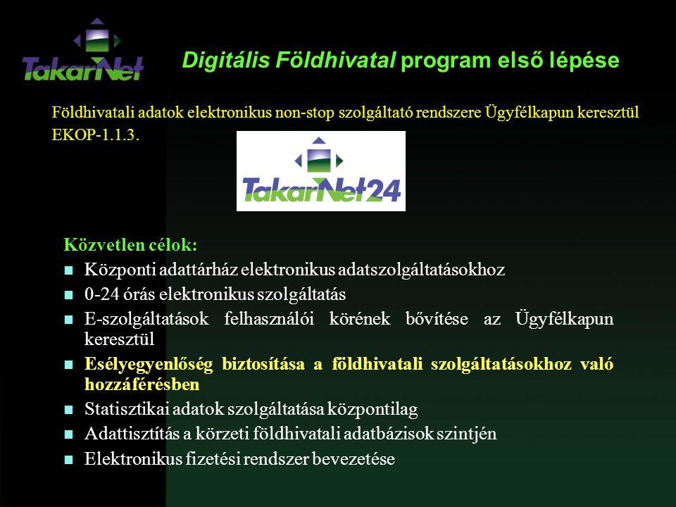 Digitális Földhivatal program első lépése Közvetlen célok: n Központi adattárház elektronikus adatszolgáltatásokhoz n 0-24 órás elektronikus szolgálta