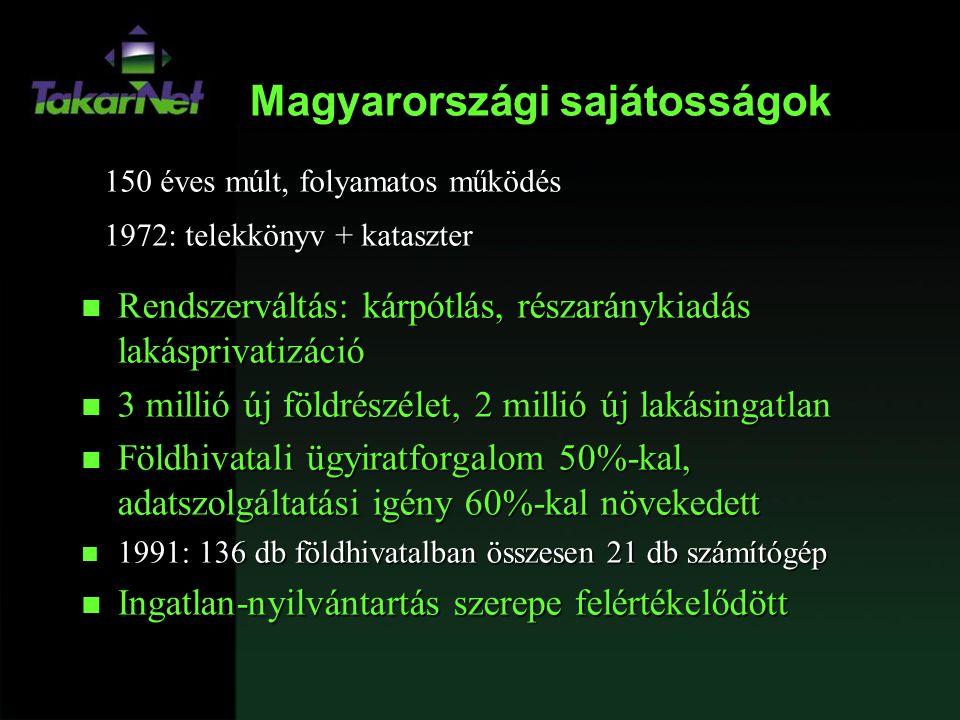 Magyarországi sajátosságok 150 éves múlt, folyamatos működés 1972: telekkönyv + kataszter n Rendszerváltás: kárpótlás, részaránykiadás lakásprivatizác